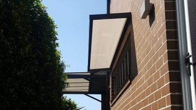 Slimline polycarb Awning with wall Brackets