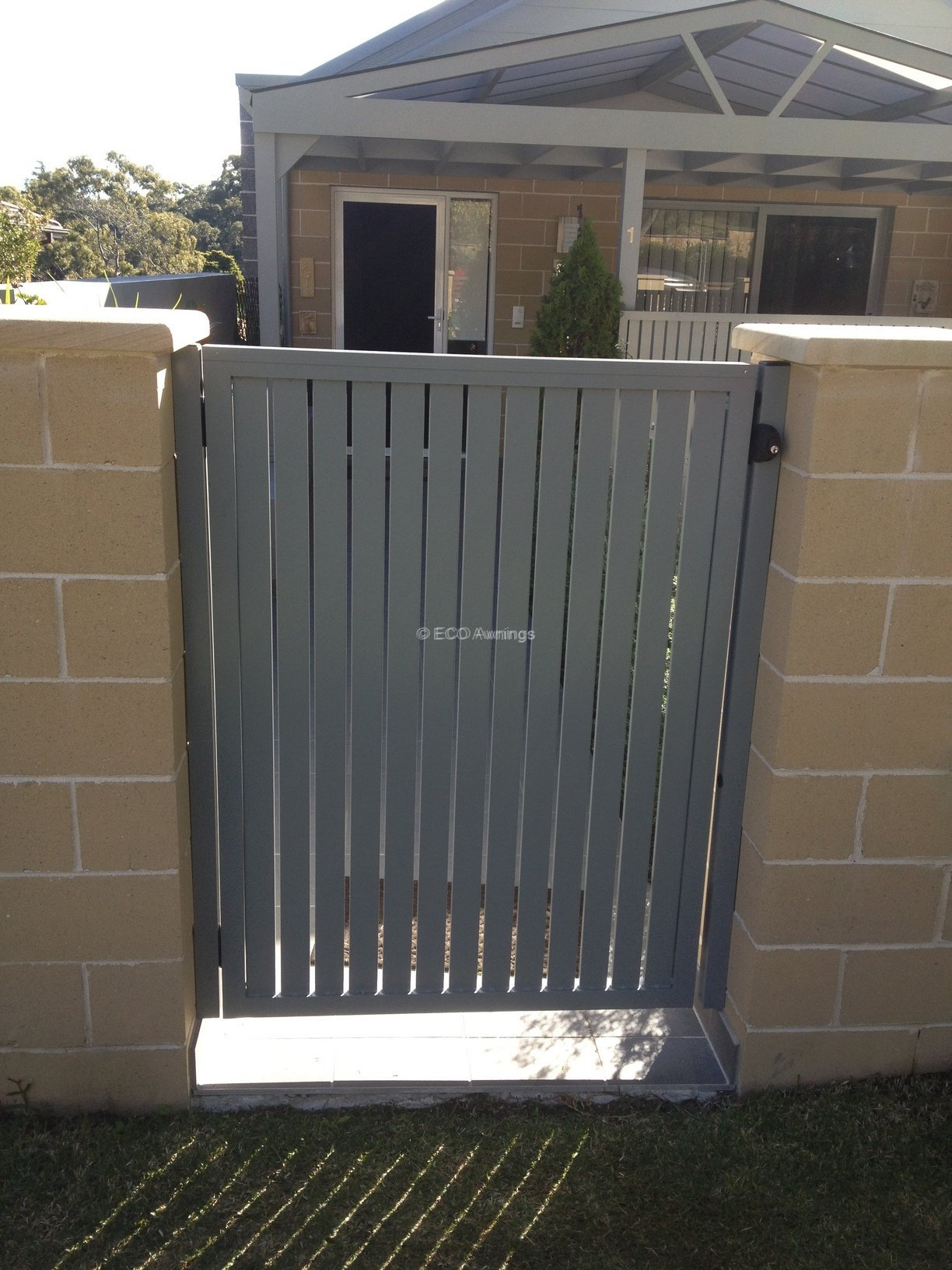 Gate With Vertical Slats And Full Frame Eco Awnings