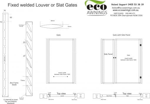 Privacy screen fixed welded louver GATE drawings