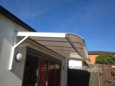 Canter lever polycarb awning Bull nose