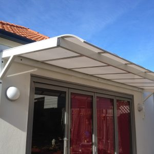 Canter lever polycarb awning Bull nose 7