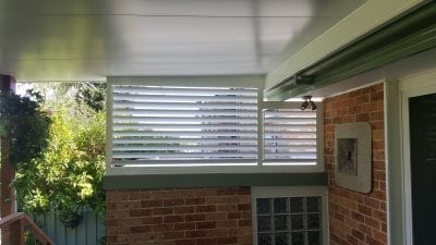 85mm adjustable louvers mounted with a pitched roof