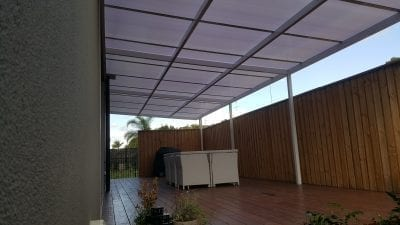 Patio Cover twinwall Polycarb white frame with white polycarb