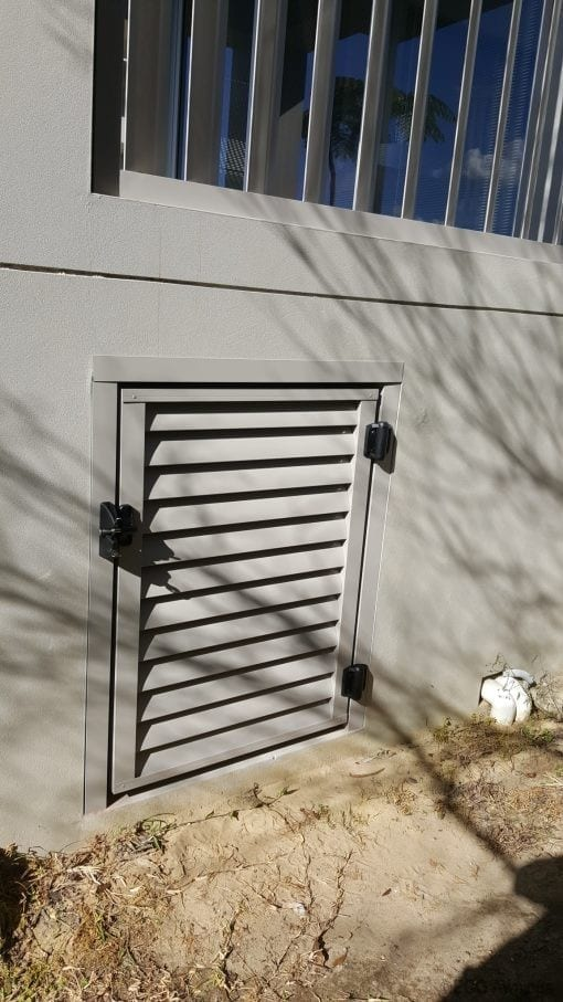 louver door for axcess under a house with a lock
