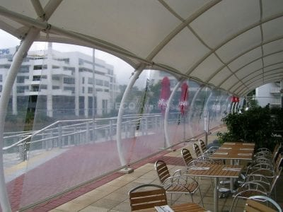 Clear plasic straight drop awnings